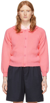 Comme des Garcons Pink Lochaven Of Scotland Edition Ruffle Neck Cardigan