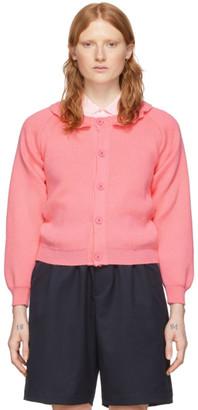 COMME DES GARÇONS GIRL Pink Lochaven Of Scotland Edition Ruffle Neck Cardigan