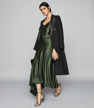 Reiss HARLEY Asymmetric Satin Maxi Skirt Green