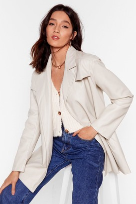 Nasty Gal Womens Best Time Faux Leather Longline Jacket - Off White