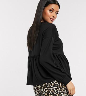 New Look Maternity long sleeve peplum tee in black