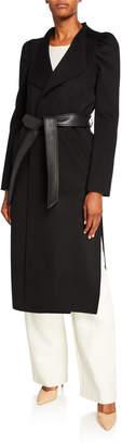 Mackage Eden Long Puff-Sleeve Leather-Belt Wool Coat