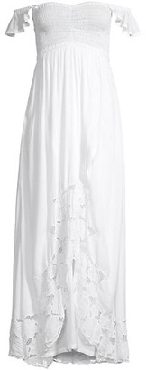 Tiare Hawaii Hollie Embroidered Lace Off-The-Shoulder Maxi Dress