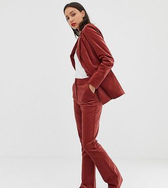 Asos Tall DESIGN Tall velvet slim flare suit pants-Pink