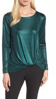 Halogen Women's Twist Front Metallic Tee