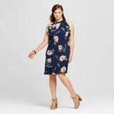Xhilaration Women's Plus Size High Neck Ruffle Dress Navy Print