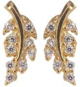 Candela 14K Yellow Gold CZ Leaf Stud Earrings