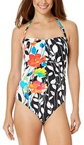 Anne Cole Women's Growing Floral Engineered Bandeau One Piece Swimsuit