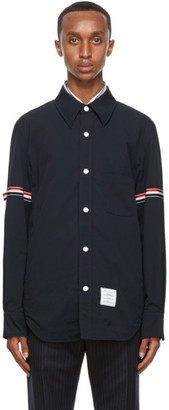 Thom Browne Navy Armband Snap Front Jacket