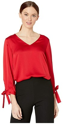 CeCe 3/4 Sleeve V-Neck Satin Blouse with Ties (Ribbon Red) Women's Clothing