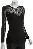 Jules black lace 'Nikki' long sleeve bustier top