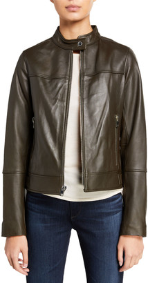 Derek Lam 10 Crosby Tab-Collar Lamb Leather Jacket