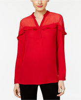 NY Collection Ruffled Illusion Top