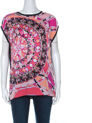 Emilio Pucci Pink & Black Signature Print Silk Sleeveless Top M