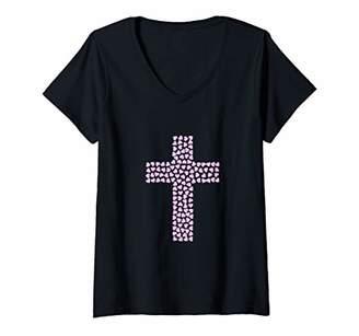 Womens Christian cross of hearts V-Neck T-Shirt
