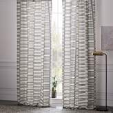 west elm Semi-Sheer Mixed Stripes Jacquard Curtain - Platinum