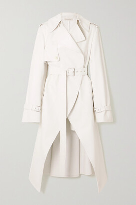 Alexander McQueen - Asymmetric Leather Trench Coat - Ivory