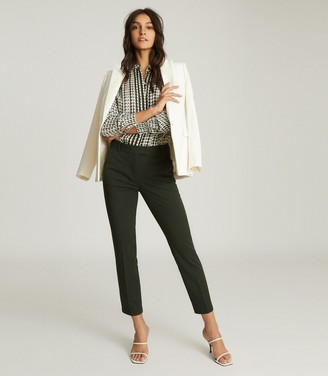 Reiss JOANNE SLIM FIT TAILORED TROUSERS Forest Green