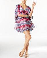 Miken Chevron-Print Cross-Back Poncho Cover-Up