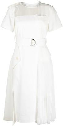 Sacai Panelled Knee-Length Cotton Dress