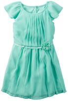 Carter's Toddler Girl Teal Flutter Sleeve Chiffon Dress