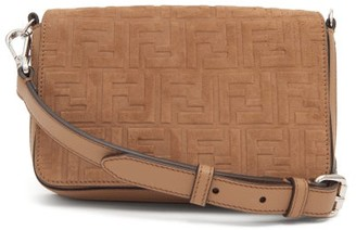 Fendi Ff-embossed Suede And Leather Cross-body Bag - Brown