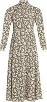 Valentino Graphic Ribbons-print high-neck sablé gown