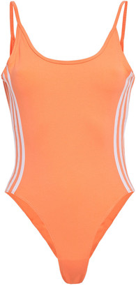 adidas Open-back Striped Stretch-cotton Jersey Bodysuit
