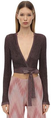 M Missoni Lurex Knit Wrap Cropped Cardigan