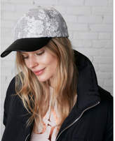 Express Faux leather brim floral baseball hat