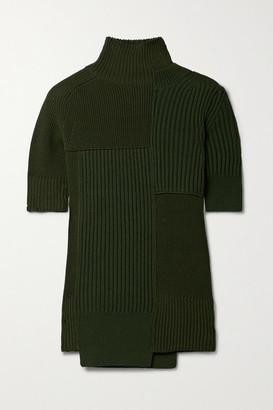 Sacai Cutout Paneled Ribbed Cotton-blend Turtleneck Sweater - Dark green