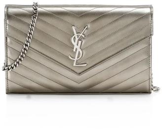 Saint Laurent Monogram Matelasse Metallic Leather Wallet-On-Chain