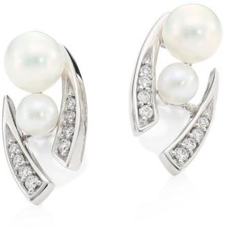 Yoko London 18K White Gold, Pearl & Diamond Stud Earrings