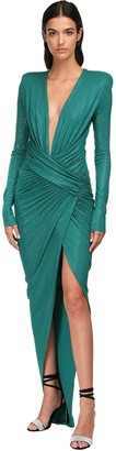 Alexandre Vauthier Micro Crystal Draped Jersey Long Dress