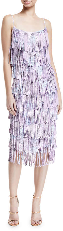 Chiara Boni Pippa Tiered Fringe Sleeveless Cocktail Dress