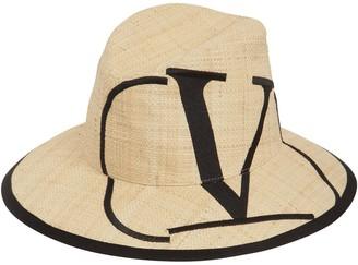 Valentino VLOGO PRINT STRAW HAT