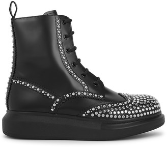 Alexander McQueen Hybrid 50 black leather ankle boots