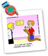 3dRose LLC qs_1497_1 Londons Times Funny Bugs and Slugs Cartoons - Veterinarian Confusion - Quilt Squares