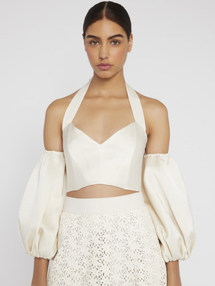 Alice + Olivia Mari Puff Sleeve Halter Top