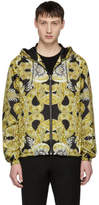 Versace Black and Tan Nylon Baroque Jacket