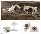 Handcrafted Sterling Silver Smoky Quartz Cufflinks, 'Aura'
