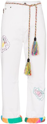 Mira Mikati Embroidered Straight-Leg Jeans