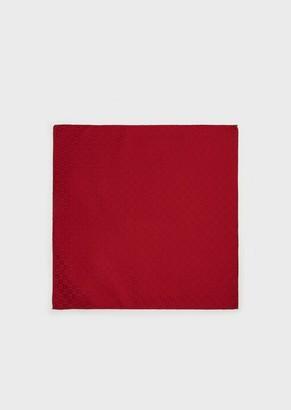 Emporio Armani Monogrammed Silk Pocket Square