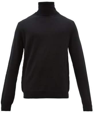 Balenciaga Bb Intarsia Roll Neck Virgin Wool Sweater - Mens - Black Red