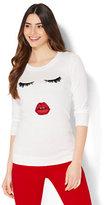New York & Co. Crewneck Sweater - Eyelash & Lip Intarsia Knit