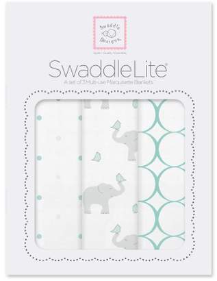 Swaddle Designs Marquisette Swaddle Blankets, Premium Cotton Muslin, SwaddleLite Set of 3, Mod Elephants, SeaCrystal