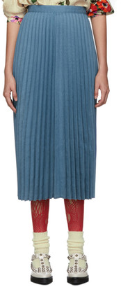 Junya Watanabe Blue Pleated Skirt