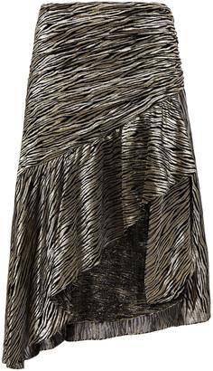 IRO Asymmetric Metallic Fil Coupe Silk-blend Chiffon Skirt