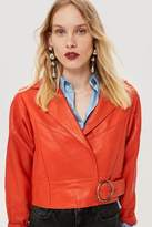 Topshop Red leather cropped jacket