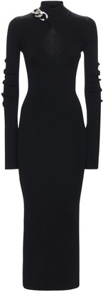 Alexander Wang Turtleneck Midi Dress W/ Chain & Cutout